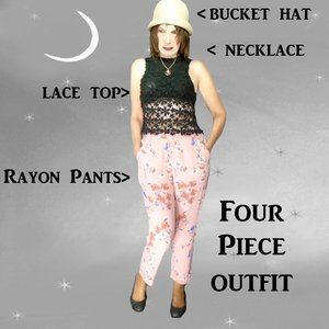 Loose Pants, Black Lace Top, Necklace, Bucket Hat, Four Pieces for Small Sizes